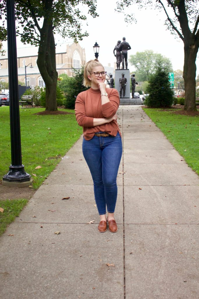 autumnal sweaters and leather loafers